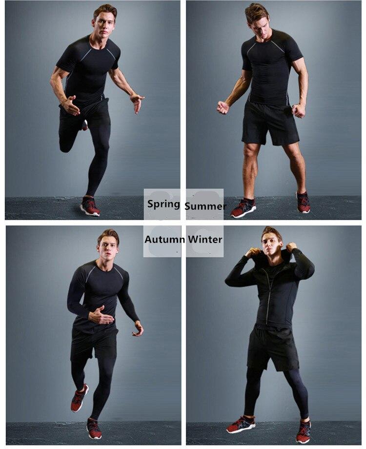 Kuangmi Männer Gym Kleidung Fitness Sportswear Kompression Strumpfhosen Anzüge Laufende Sport Engen Jogging T shirt und Hosen Set Kleidung - 6