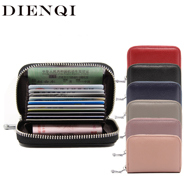 DIENQI Mini Wallet Purses Card-Holder Short Coin-Money-Bag Zipper Small Genuine-Leather