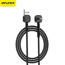 Awei  Date Cable and holder 2 in 1 data cable safe and fast  data charging line quick charging line for iso 8/9/10/11 devices pofan p11 lightning charging data cable line silver