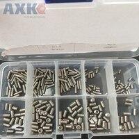 AXK 300pcs/set 304 stainless steel Din 913 flat headless hexagonal tightening machine screw M2M2.5M3M4