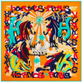 El nuevo H gran viento 130 cm * 130 cm colorido letras pintadas Ma sarga de seda del mantón de la bufanda