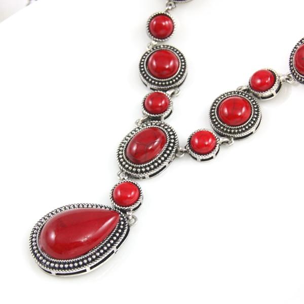 Collar Y piedra rojo Retro lágrima Color plata cadena larga Y colgante de collar de plata cadena collares joyería 2020nke-k72
