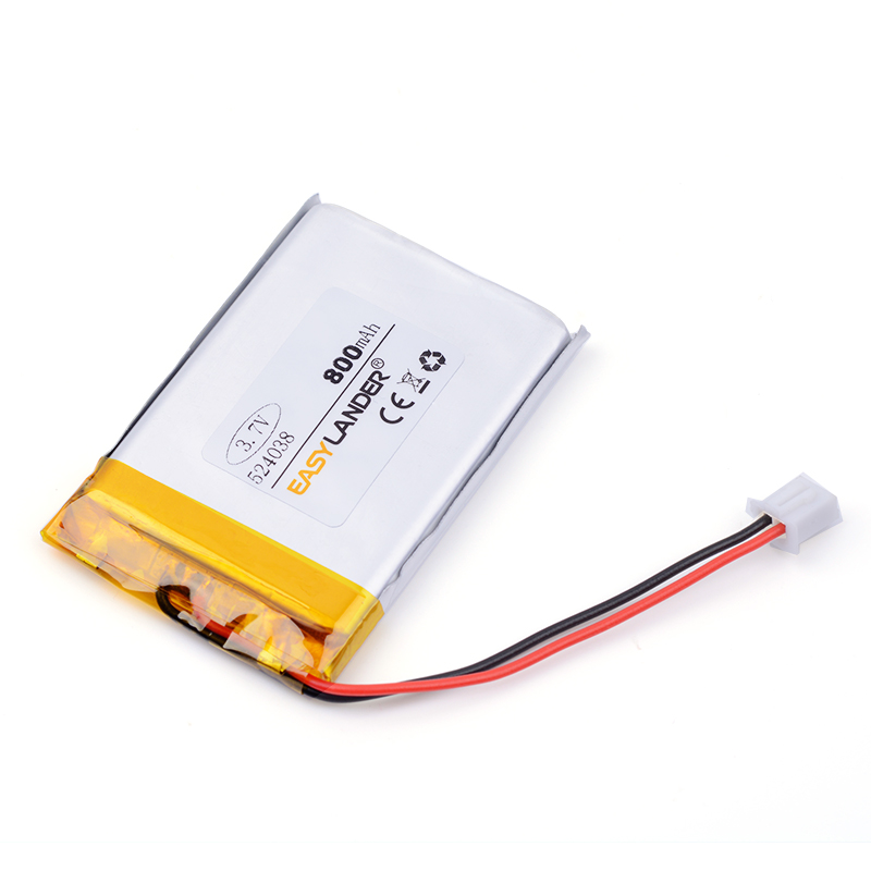 XHR-2P 2.54 800mAh 524038 504040 40*40*5.2mm 3.7V lithium polymer battery point reading machine battery pack medical device