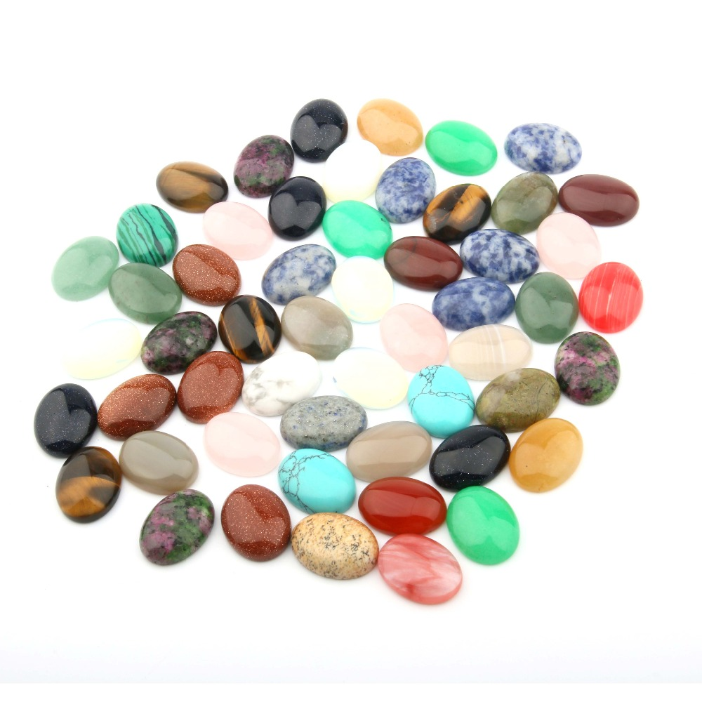 10PCS Mixed Natural Stone Cabochon Oval 10X14 12X16 13X18 15X20 18X25mm Egg Shaped DIY Jewelry Products