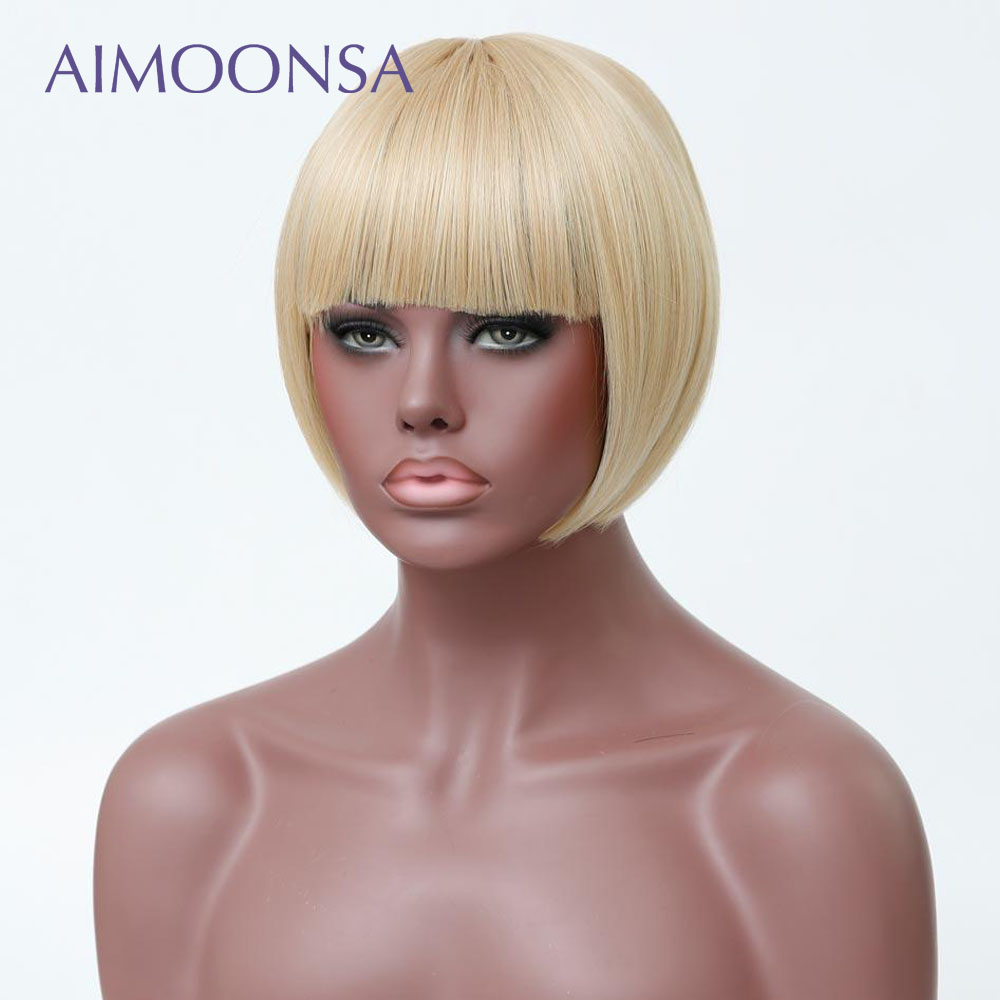613 Lace Front Wig Blonde Wig Human Hair Wigs With Bangs Bob Straight Hair Short Hair Wig Natural Hair Peruvian Remy Aimoonsa-in Human Hair Lace Wigs from Hair Extensions & Wigs    3