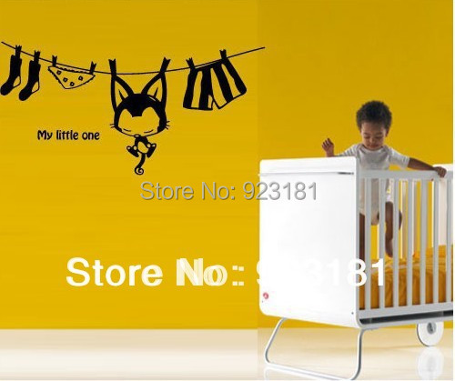 Wholesale Cute Hanging Cat Vinyl Art Wall Stickers Decal DIY Home Decoration Wall Mural Removable Bedroom sticker 112x68cm