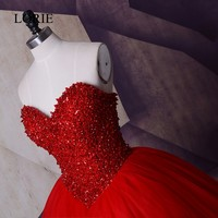LORIE Crystals Red Evening Gown Robe de soiree courte 2017 Sweetheart Sequin Plus Size Prom Dresses Long For Elegant Women Party