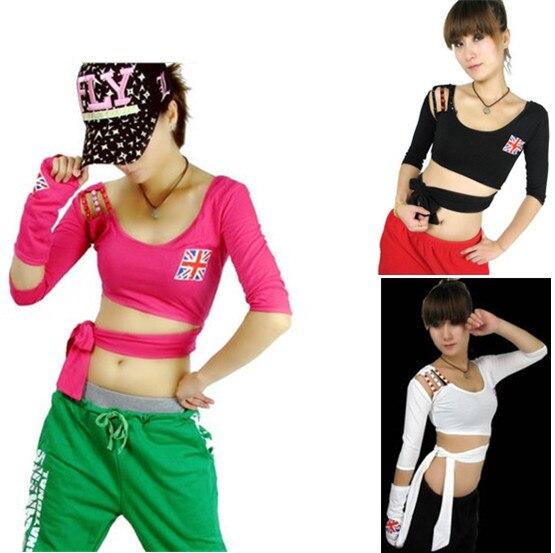 11306384346c6 Sexy mujeres con estilo Hip Hop Jazz Dancewear bandera nacional ee.uu. DS  vestuario camiseta Top caliente TS12 en Camisetas de La ropa de las mujeres  en ...