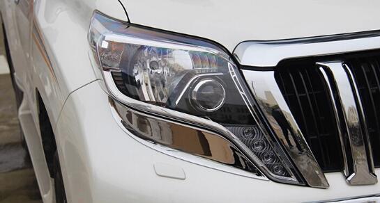 Supérieur star ABS chrome 2 pièces voiture phare garniture de décoration pour TOYOTA Land Cruiser Prado 2014