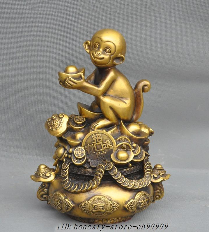 Antique China Copper Buddha Coin Pendant Buddhism Kwan Yin Eight Trigrams Amulet Necklaces & Pendants
