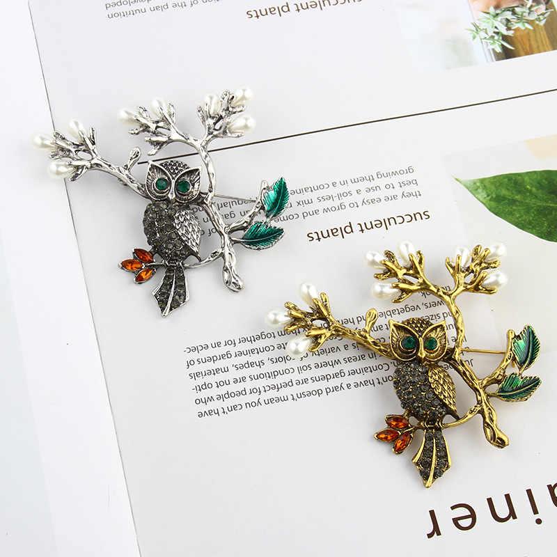 Fashion High-End Retro Emas Hewan Burung Hantu Cabang Bros Kepribadian Bunga Lapel Bros Pin Pria Kemeja Pin Aksesoris Wanita
