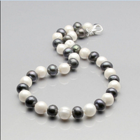 FREE shipping> >>>GZ best 10 11mm white black pink freshwater pearl necklace