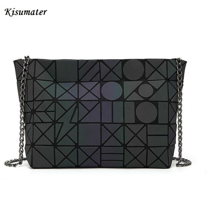 2018 New Luminous bag Geometry Diamond lattic handbag chain Shoulder Bags hologram laser silver Noctilucent bag Free Shipping