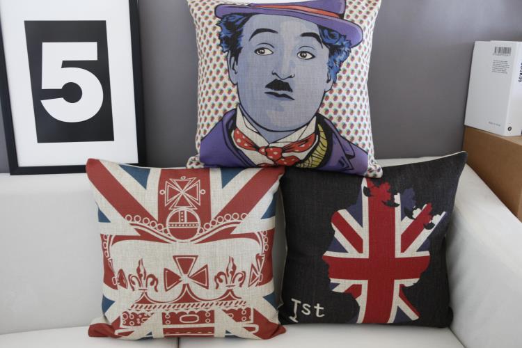 England Creative Chaplin Pillow ,Chaplin Cushion ,Linen Pillowcase,cushion Home Decor Sofa Cushion Decorative Pillows