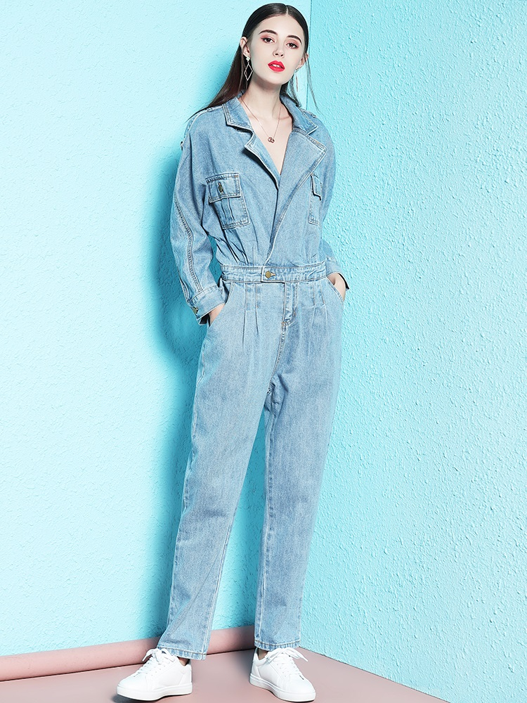 Free Shipping 2019 Fashion Safari Style Long Sleeve Women Denim   Jumpsuit   Rompers XS-XL Spring Autumn Trousers Turn Down Collar