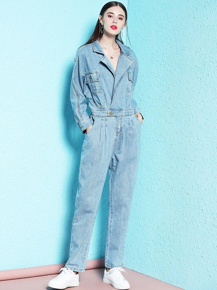 Livraison gratuite 2019 mode Safari Style à manches longues femmes Denim combinaison barboteuses XS-XL printemps automne pantalon col rabattu