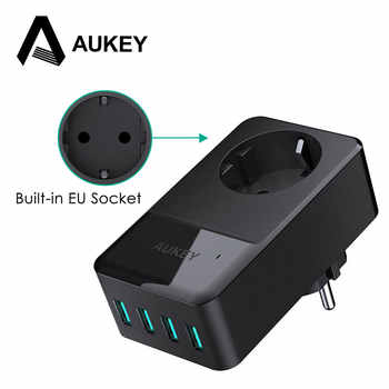 AUKEY 4 Ports Mini USB Charger 16A Wall Socket Charger + 30W 4 Smart USB Mobile Phone Fast Charger for iPhone X Samsung Xiaomi - DISCOUNT ITEM  20% OFF All Category