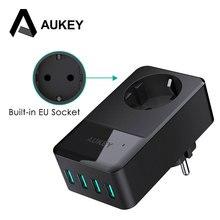 Aukey 4 포트 미니 usb 충전기 16a 벽 소켓 충전기 + 30 w 4 스마트 usb 휴대 전화 빠른 충전기 아이폰 x 삼성 xiaomi