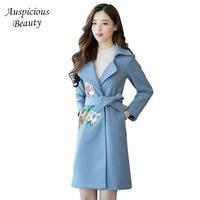 2017 New Design Women's Winter embroidering Coats Long Wool Winter Jacket Women Slim Wool Coat Fashion Long Women's Outwear QD05