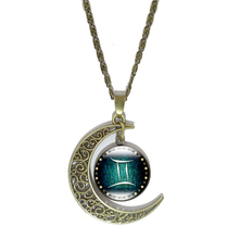 12 Constellation Glass Cabochon Pendant Necklace