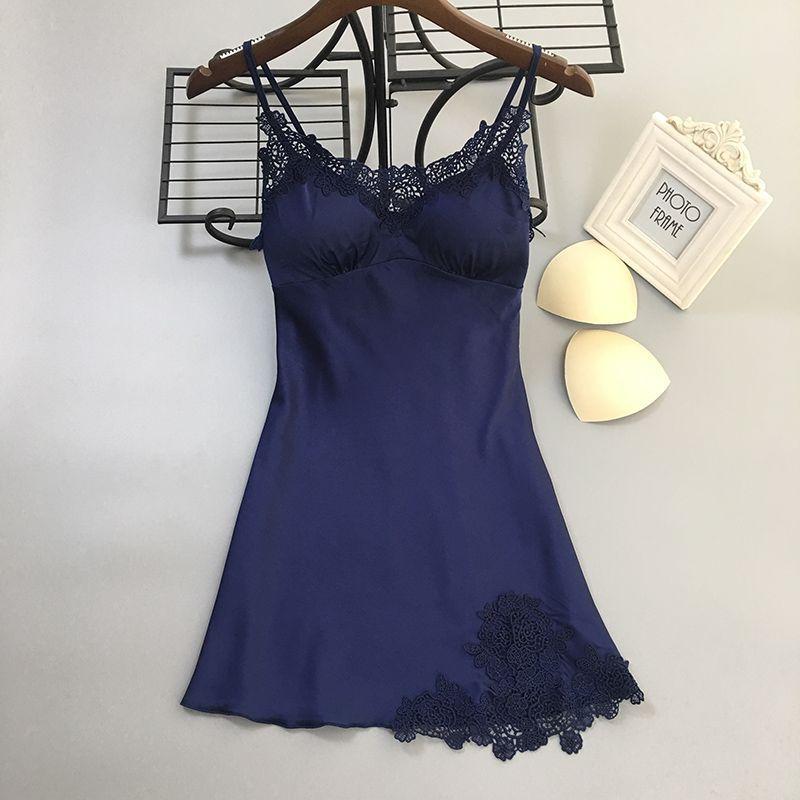 Gray Black Blue Red Pink   Nightgowns     Sleepshirts   Women Sleepwear Nightwear Slip Silk Satin Nightdress Lace Embroidery   Nightgowns