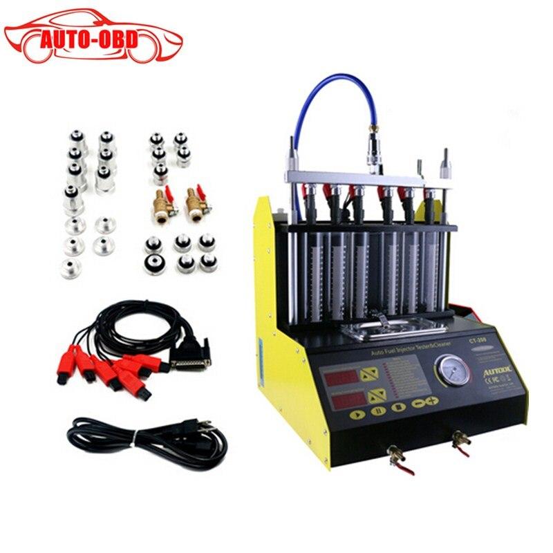 Prix pour Ct200 gasonline 6/4 cylindre de voiture moto auto ultrasons injecteur de nettoyage testeur machine 220/110 v mieux que launch cnc602a