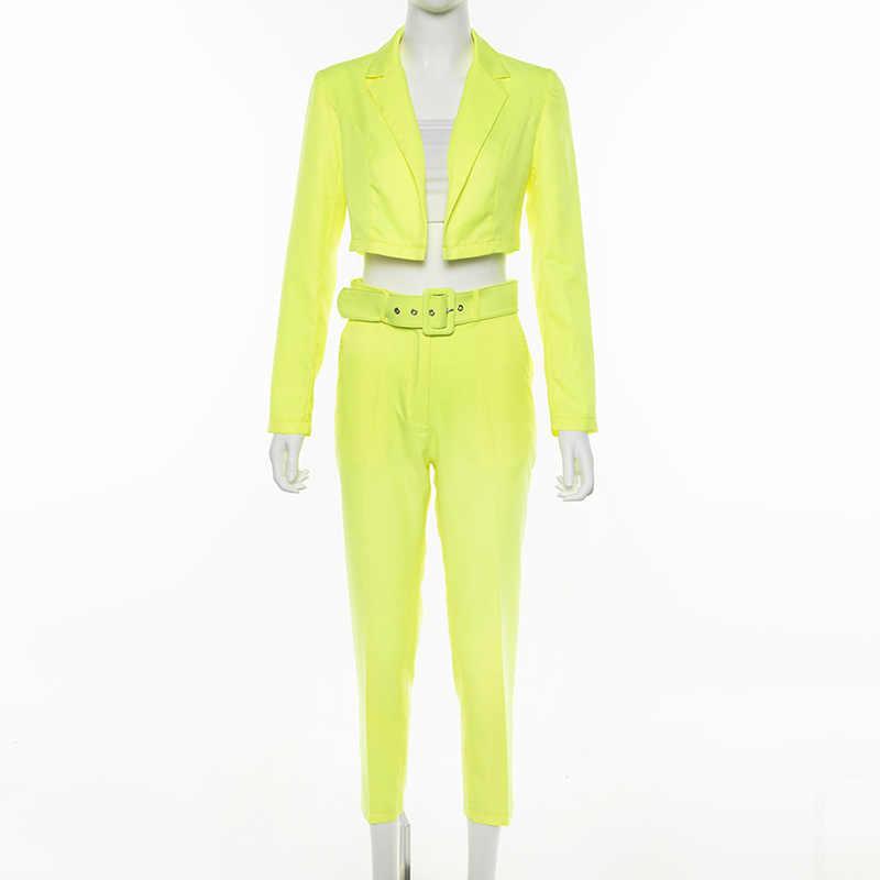 Kobiety odzież zestaw wiosna jesień krótki Blazer i ołówek spodnie 2 sztuka zestaw Slim dorywczo wysokiej talii spodnie spodnie garnitur