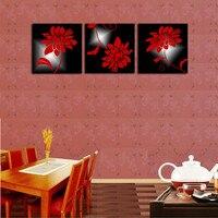 3 개 현대 추상 그림 홈 거실 벽 장식 작품 붉은 꽃 패턴 HD 인쇄 그림 캔버스 프레임이없는