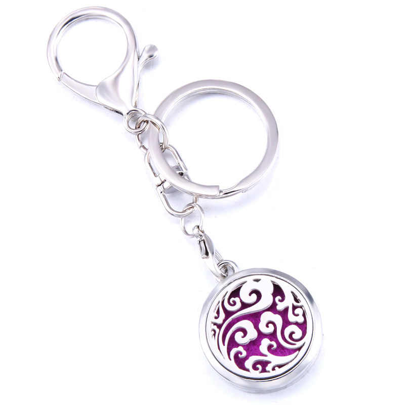 Colorful Clouds Stainless Steel Fashion Perfume Aroma Locket Keychain Aromatherapy Essential Oil Diffuser Keyring Jewelry