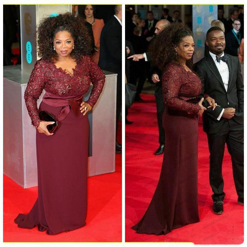 2018 Oprah Winfrey Burgundy Long Sleeves Modest Mother of the Bride ...
