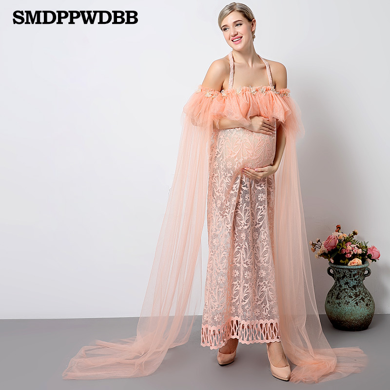 ccd99704205b9 SMDPPWDBB Maternity Photography Props Dress Pregnant Women Long Dress Photo Shoot  Dresses Pregnant Women Photo Pink ...