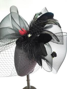 Fashion Women Head Piece Hair band Fascinator Feather Mesh Party Bridal Veil Net Mini Top Hat Custom-made Drop Shipping 1
