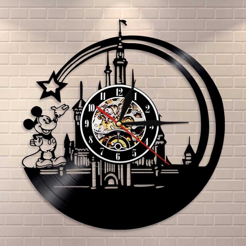 2019 Relogios De Parede vente nouvelle Horloge murale grande Horloge murale Wandklok livraison gratuite musique vinyle étoiles Mickey château souris