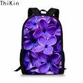 THIKIN Beauty/фиолетовые и сиреневые школьные сумки с объемным цветком для девочек-подростков  детский ортопедический Школьный рюкзак  рюкзак  су...