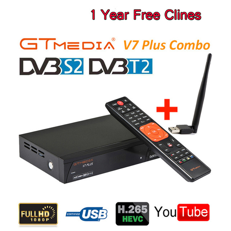GTMEDIA V7 PLUS receptora 1080 P Full HD DVB S/S2 + T/T2 Upgrade satelitarny odbiornik TV + 1 rok clines wsparcie H.265 Newam Youtube w Satelitarny odbiornik TV od Elektronika użytkowa na  Grupa 1
