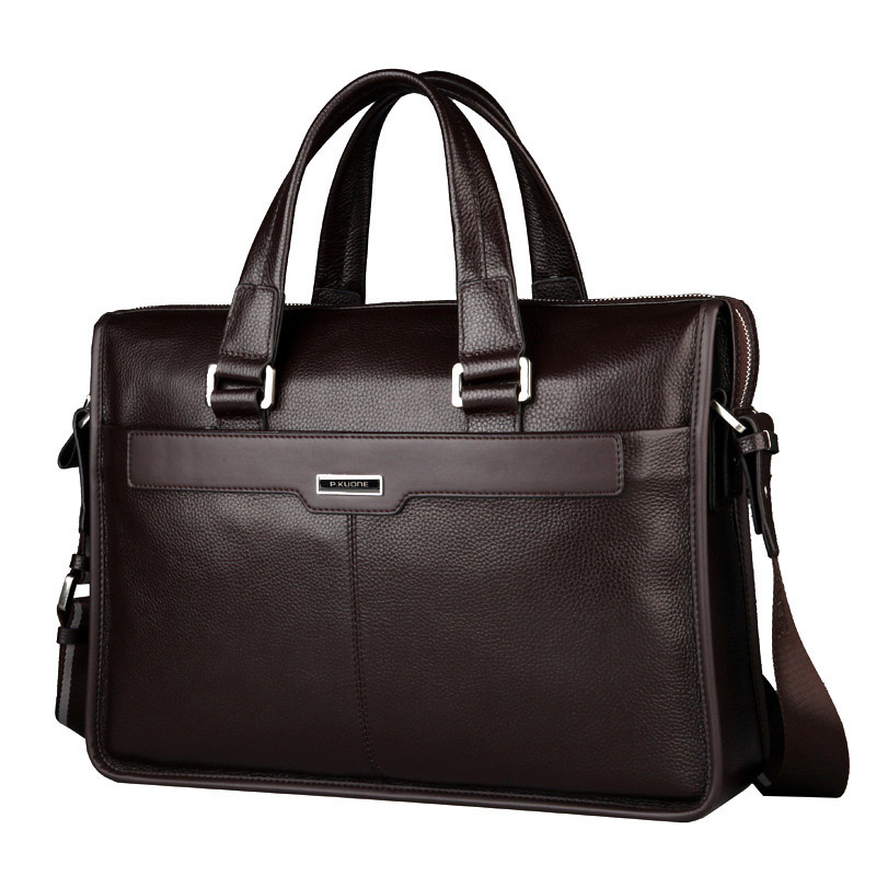 New Genuine leather men handbags mens business briefcase Laptop bag Luxury soft skin bag ...