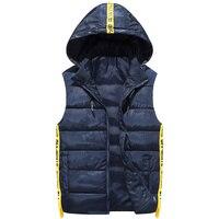 Men S Down Vests Students Winter Jackets Waistcoat Men Fashion Sleeveless Solid Zipper Coat Overcoat Warm