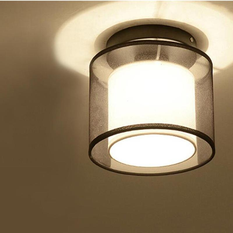Modern Ceiling Lights Home Lighting Dia 19cm Fabric Shade Simple Ceiling Lamp Bedroom plafoniera Led Light Fixture Z3 недорго, оригинальная цена
