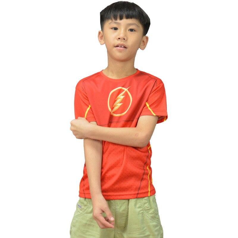 Mooi Kids Cartoon Kostuums Jongens & Meisjes T-shirts Superheld De Flash Tees Droog Fit Tops Korte Mouwen Sportkleding Fitness Uitloper Fijn Verwerkt