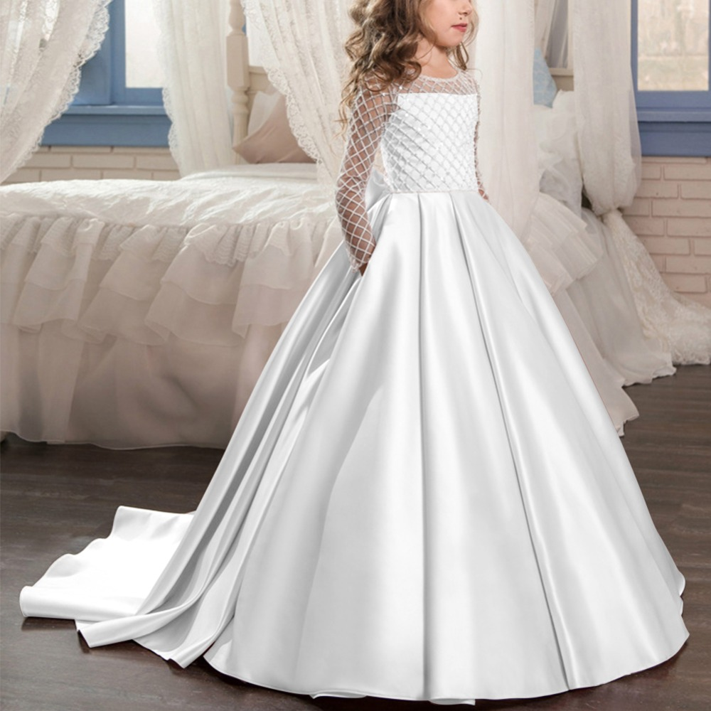 White Flower Girl Dress Vintage Princess Formal Wedding Brides Long Dresses Gown