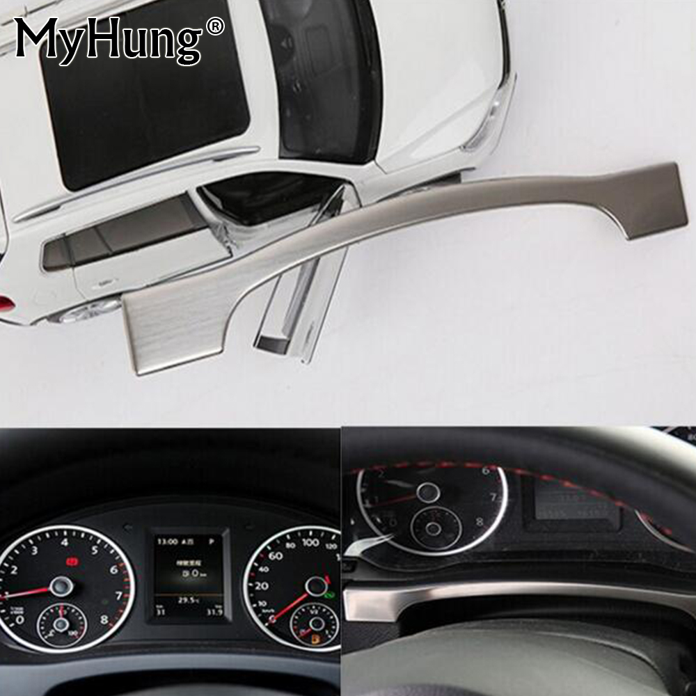 Instrument Panel Dashboard Trim Cover Sticker For Vw Tiguan 2010 2011 2012 2013 2014 2015 Stainless Steel 1pc Car Accessories stainless steel front bonnet machine cover molding trim 1pcs fit for vw volkswagen tiguan 2010 2011 2012 2013 2014 2015 2016