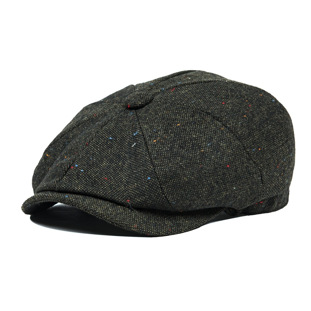 VOBOOM Woollen Tweed Newsboy Cap Men Hat Women Mens Wool Blend Apple Caps Autumn Winter Eight Panel Cabbie Hats Dark Green 132