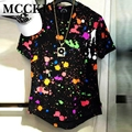 MCCKLE Ink Splash Mens Tie Dye Shirt Short Sleeve Hi-Street Hip Hop Rock T Shirts Fashion Streetwear Curved Hem Tees
