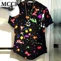 Salpicaduras de tinta Mens Tie Dye Camiseta de Manga Corta de Alta de La Calle de La Cadera Hop Rock Camisetas Streetwear de La Moda Curva Hem Tees Marca diseñador