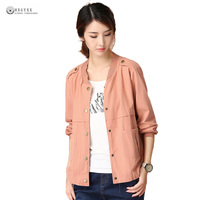 2017 Latest Autumn Women Big Yard Jackets Long Sleeve Pure Color Single Breasted Leisure Outwear Jacket