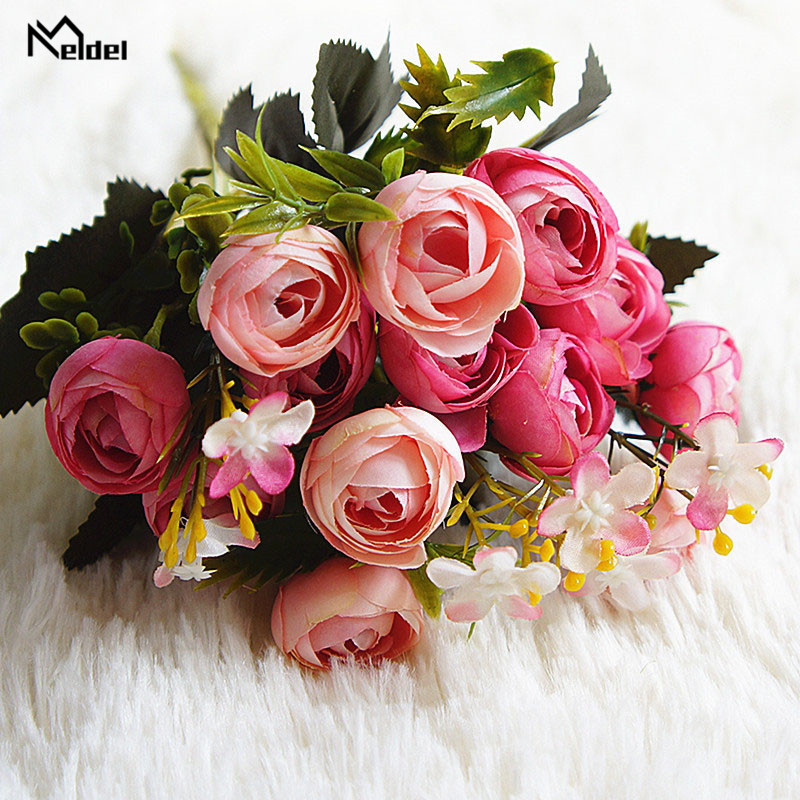 rose flowers artificial bouquet wedding fake flower (9)
