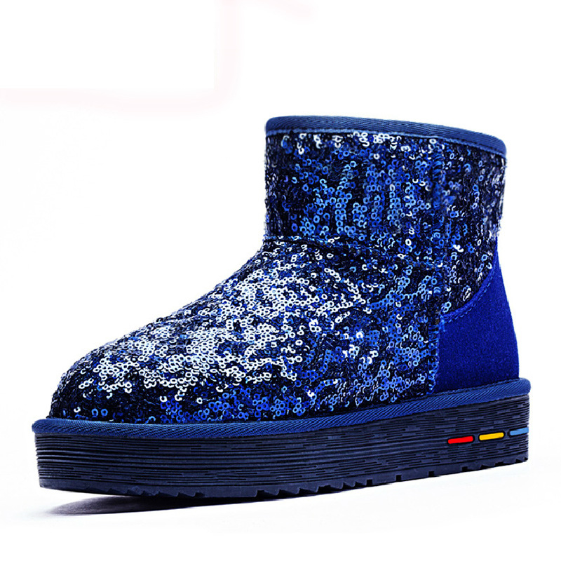 ФОТО Sequined Cloth Winter Boots 2016 New Women Snow Boots Superstar Glitter Botas Mujer Feminina Platform Boots Plush Zapatos Mujer