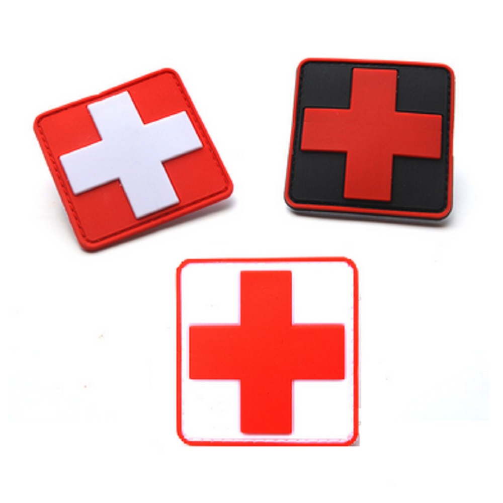 100pcs/lot 3d Pvc Glue Red Cross Medical Rescue Morale Patch Tactical Army Morale Badge Red Cross Medical Rescue Logo Patches Rock & Pop