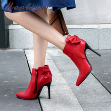Meotina Women Boots Winter Ankle Zipper Thin High Heel Short Bow Pointed Toe Shoes Lady Autumn Red Large Size 34-46