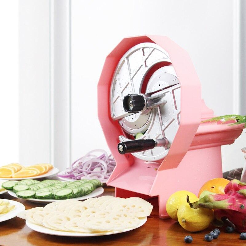 Ручная коммерческая машина для резки фруктов 2 трубки 0,8 6 мм Регулируемая толщина лимон яблоко резак для овощей Чоппер